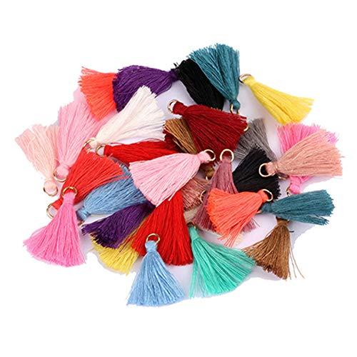 Egurs 100 stuks bonte kwasthangers kwast 3 cm mini franjes voor doe-het-zelf sieraden oorbellen knutselen, armbanden, sleutelhangers