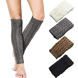 Stretchy material for soft to wear: these high leg warmers are made of acrylic fibers, more elastic than wool and have good warmth retention, comfortable to wear Package quantity: come with 4 pairs cable knit leg warmers in 4 colors include black, wh...