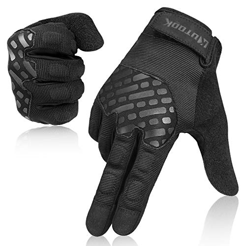 KUTOOK EVA Padded MTB Gloves Men Touch Screen for Shooting Airsoft Black Large