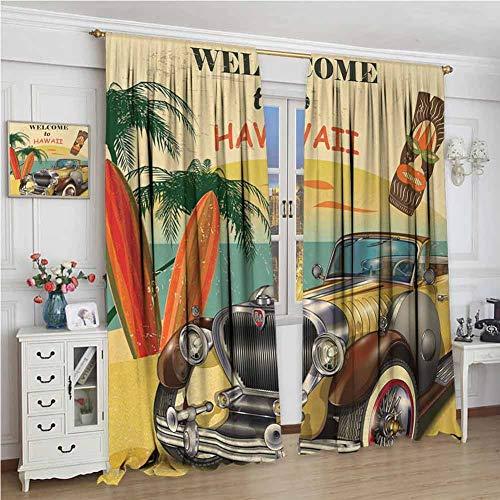 wonderr Waterdicht venster gordijn, staaf Pocket gordijn panelen voor slaapkamer & keuken, Retro, Welkom bij Hawaii American Pop Art Print met verouderde auto palmen tribal masker en surfplanken, Multi