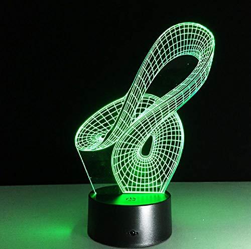 Abstracto Geométrico Artístico 3D LED USB Lámpara Creativa Artística Moda Noche Diseño Moda Decoración Hogar Bombilla RGB