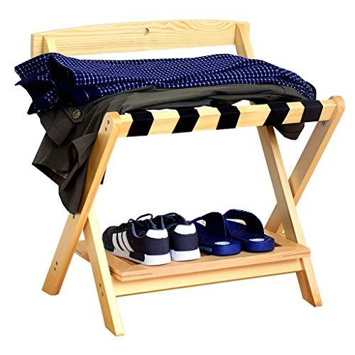 N/Z Home Equipment Luggage Rack Luggage Rack with Shoe Shelf Hotel Room Foldable Solid Wood Suitcase Holder Luggage Rack Shelving Suitcase Backpack