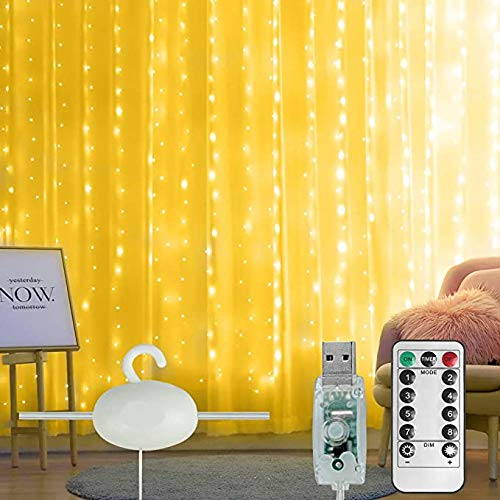 300 LED Window Curtain Lights Fairy String Lights 3M X3M 8 Modes USB Powered with 10 Hooks Waterproof Remote Control String Light for Bedroom Party Garden Decoration (Warm White)