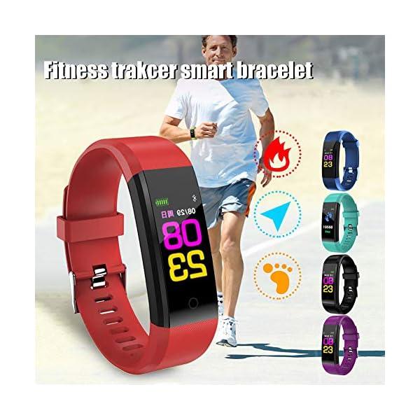 Leobtain Fitness Tracker Pantalla a Color Monitor de Ritmo Cardíaco Presión Arterial Pulsera Inteligente Relojes… 2
