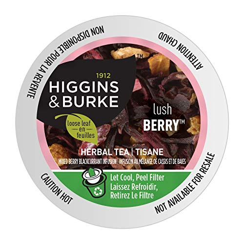 Higgins & Burke Lush Berry, Loose Leaf Herbal Tea, Keurig K-Cup Brewer Compatible Pods, 24 Count