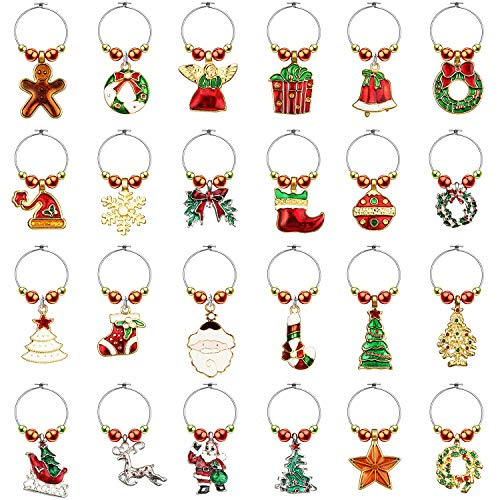 WILLBOND 24 Pieces Wine Glass Charms Christmas Goblet Drink Markers Drink Tags Wine Glass Tags for Party Favors and Family Gathering