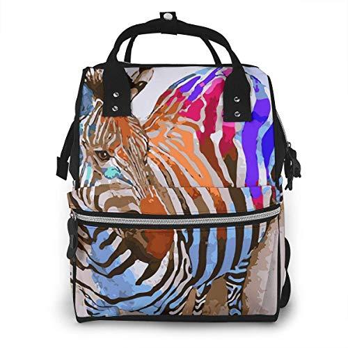 Aquarel Zebra Kleurrijke Grote Capaciteit Multifunctionele Mummy Rugzak Grote Capaciteit Landscap Licht Baby Luiertassen