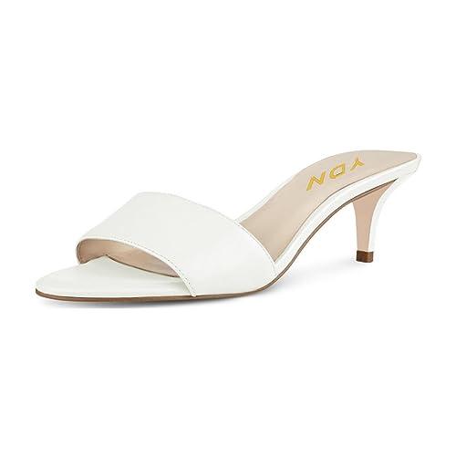 7ccf60dc4e YDN Women Comfy Kitten Low Heel Mules Slip on Clog Sandals Open Toe Dress  Pumps Slide
