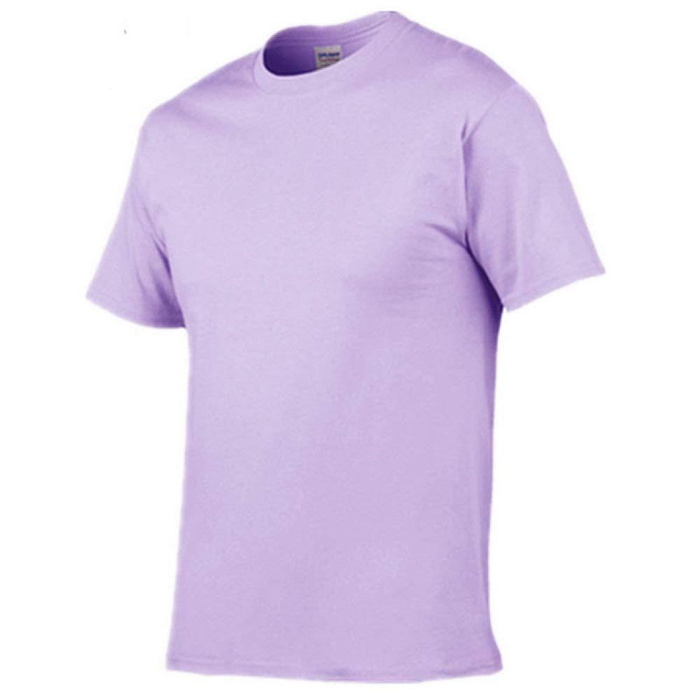 DSHRTY Top de Verano,Verano Nueva Camiseta de Hombre Casual Manga Corta o-Cuello 100% algodón Camiseta Hombre Blanco Negro Camiseta, Orquídea púrpura, L: Amazon.es: Deportes y aire libre