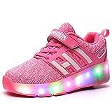 Bruce Wang Jungen Mädchen Junge LED Leuchten Einzelrad Roller Schuhe Sport im Freien Training Skate Turnschuhe (36 EU, Pink 008)