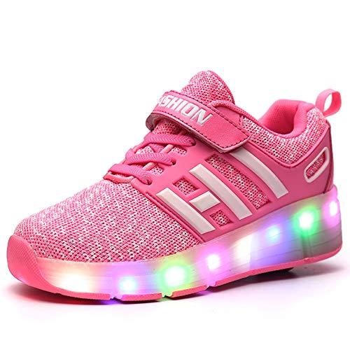 Bruce Wang Jungen Mädchen Junge LED Leuchten Einzelrad Roller Schuhe Sport im Freien Training Skate Turnschuhe (28 EU, Pink 008)
