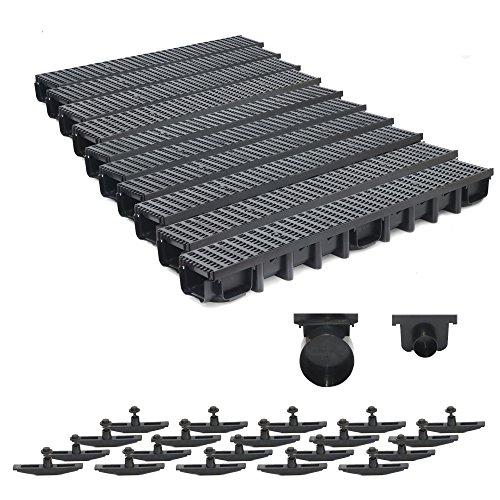 10m Entwässerungsrinne Belastungsklasse B125, 98mm komplett SET Stegrost Kunststoff (schwarz)