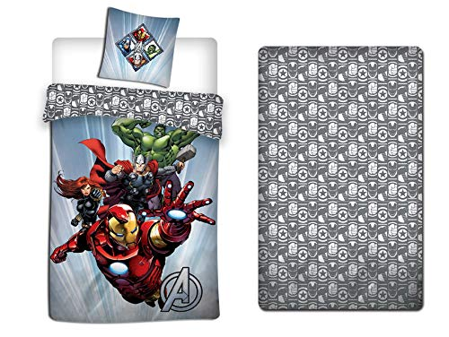 LesAccessoires Disney Avengers - Set di biancheria da letto, copripiumino 140 x 200 cm + federa + lenzuolo con angoli 90 x 190 cm