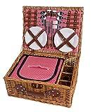 eGenuss LY12041(11301204) Cesta de Mimbre para Picnic - 4 Personas - Cubiertos de Acero Inoxidable, Nevera, Vasos de Vino y Platos de cerámica incluídos - Color tartán Rojo de 47 x 37 x 20 cms