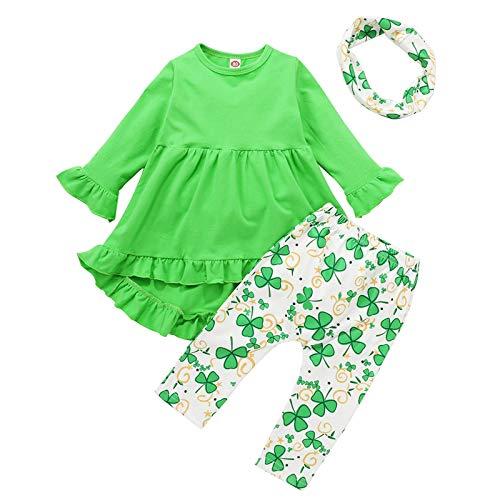 Conjunto de vestido de manga larga para bebé de San Patricio+pantalones+bufanda de trébol de primavera