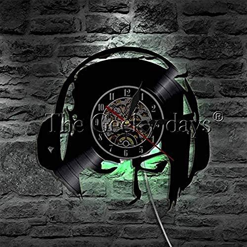 Luister naar muziek meisje wandklok modern design hoofdtelefoon vinyl record wandklok wandklok klok muziekliefhebber cadeau