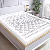 Sofslee Microfiber Mattress Topper, 2.5 Inch Breathable Hotel Quality <span class='highlight'>Bed</span> Topper, Extra Thick Mattress Pad with 4 Anchor Bands, 100% Hypoallergenic 3D Alternative Fill Quilted Fitted Mattress Cover