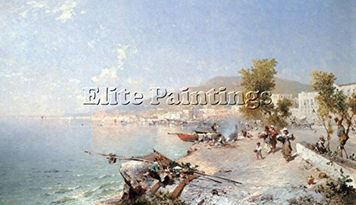 Elite-Paintings VIETRI sul Mare Looking Towards Salerno Artista Quadro Dipinto Olio su Tela 65x120cm Alta qualita