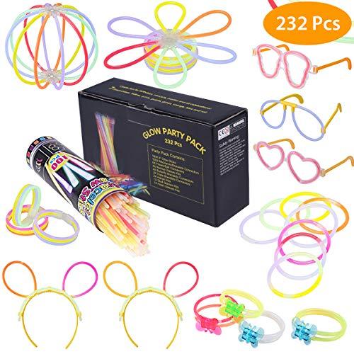 232-teiliges Set Knicklichter Leuchtstäbe Armbänder Glowstick mit Steckverbindern, Dreifache Armbänder, Ein Stirnband, Ohrringe, Blumen, Eine glühkugel & vieles