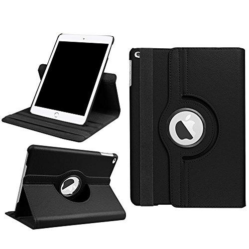 Funda 9.7 iPad 2018 2017/iPad air/iPad air 2 Case - DETUOSI Protectora Carcasa de Cuero Giratoria 360 Grados Smart Case con Stand Función para Tablet 9.7 Pulgadas 2017 2018 iPad,iPad air,iPad air 2-Negro