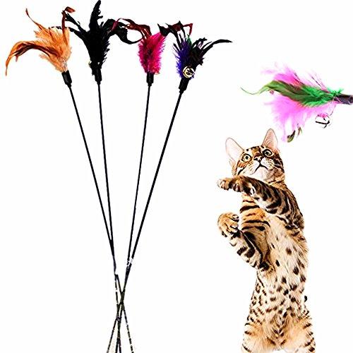 Spaufu, 4giochi con piume artificiali per gatto, bacchetta con piuma e campanellino, giocattolo per gatto