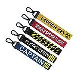 5er Set Schlüsselring Gepäckanhänger Reißverschluss Pull Schlüsselanhängertasche Captain, Crew, Pull to Eject, Flight Crew