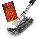 MEMX Grill Brush and Scraper,Strong BBQ Cleaner Accessories,Safe Wire Bristles 18' Stainless Steel Barbecue Triple Scrubber Cleaning Brush,Perfect Tools for Weber Gas/Charcoal Grill.