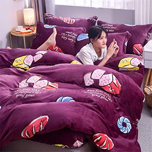 KLLT Modern pluche dekbedovertrek, 1 persoon, dik, comfortabel, beddengoed voor kinderen, slaapkamer, dekbed, sprei, slaapzaal, eenpersoonsbed met overtrek
