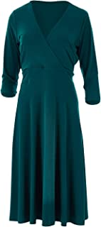 Bird by Design Womens Knee Length Dresses The Faux Wrap Jersey Dress Pine