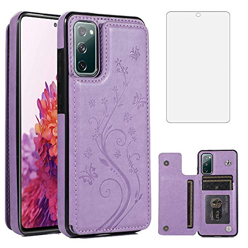 Phone Case for Samsung Galaxy S20 FE 5G/S20 Fan Edition with Tempered Glass Screen Protector Card Holder Wallet Cover Stand Flip Leather Cell Accessories Glaxay S20FE S 20FE FEcases 2020 Women Purple