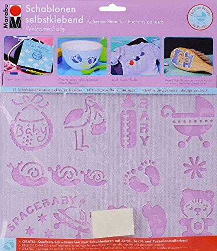 Marabu 4007751505774 Motiv- Schablonen-set, welcome baby Motiv Baby Kind Geburt