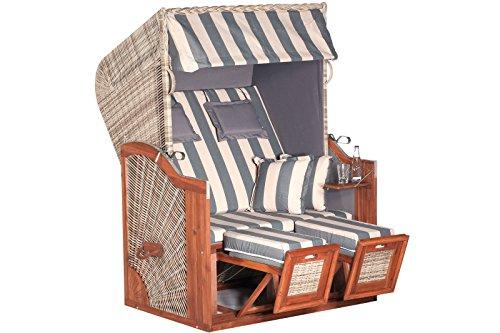 Exklusiver Strandkorb Rustikal SUN von SUNNY SMART aus Akazienholz in klassischer Ostseeform, ca. 125 x 85 x 160 cm, 2-Sitzer, grauer, verstellbarer Kunststoffkorb, Fußstützen, Kissengarnitur, stabil