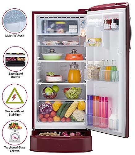 LG 190L 5 Star Direct-Cool Smart Inverter Single Door Refrigerator (GL-D201ASPZ, Scarlet Plumeria, Base stand with drawer) 5