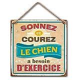 Plaque Décorative en Métal 20x20 cm – Sonnez et Courez