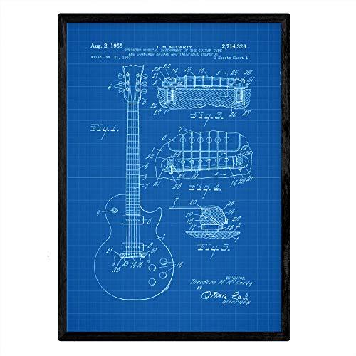 Nacnic gitaar poster patent. Blad met oud ontwerp patent A3-formaat met blauwe achtergrond