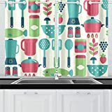 HYTCSY Cute Living Room Curtains Kitchen Cooking Equipment Door Curtain Blackout Girly Window Curtains for Cafe Bath Laundry Living Room 26x39inch 2pieces