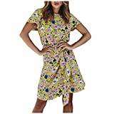 2021 Cute Mini Dress for Women, FORUU Summer Womens Floral Printed Short Sleeve Round Neck Casual Beach Dress Womens O-Neck Printing Bow Party Slim Fashion Long Dresses Yellow