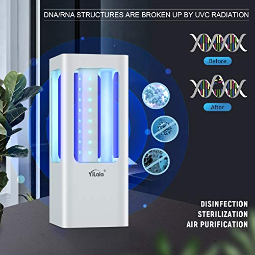 YiLaie Keimtötende LED-Lampe, UVC-Desinfektionslicht mit Fernbedienung, tragbar, batteriebetrieben, Desinfektionslicht für Auto, Haushalt, Schlafzimmer, Küche, Schuhe, WC, 32 W