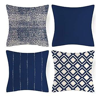 JOOJA Throw Pillow Covers Modern Sofa Pillow Case Decorative Throw Pillow Covers 18 x 18 Inch 4Pcs Navy Blue