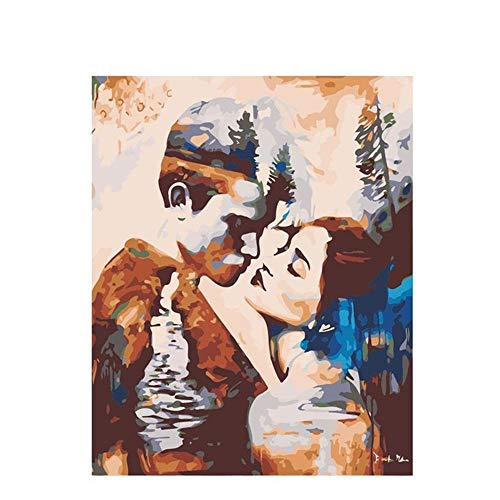 DIY Digital Painting,Hand-Painted Color Fill,Couple Kiss,Living Room Oil Painting Decorative Painting 40X50Cm, Zwwcj