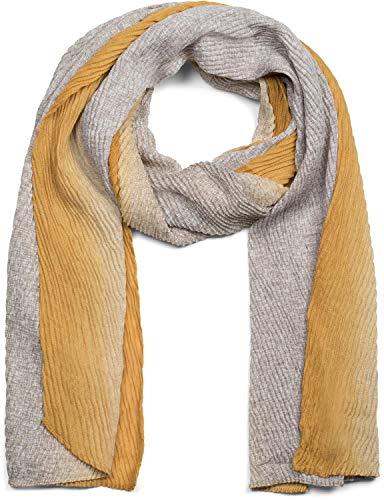 styleBREAKER Damen Schal plissiert mit Farbverlauf und Gitter Muster, Crash Look, Stola, Tuch 01017105, Farbe:Senf