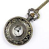 MingXinJia Relojes de Cabecera para el Hogar Reloj de Bolsillo Vintage, Antiguo 12 Horóscopo Doce Constelaciones Reloj de Bolsillo de Cuarzo con Esfera Redonda Reloj Colgante