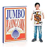 """Gamie Jumbo Giant Poker Playing Cards Deck - 10.5 """"x 14.5"""" - Extra Large Card Set with 2 Jokers - Huge Casino Playing Cards for Children and Adults - Oversized Poker Party Decorations - 1 Pack"""