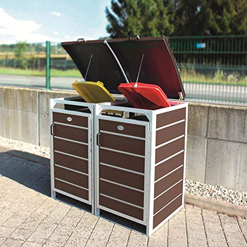 Prewood WPC Mülltonnenbox, Mülltonnenverkleidung für 2x 120l Mülltonne braun // 70x136x113 cm (LxBxH) // Gerätebox, Gartenbox & Mülltonneneinhausung - 4