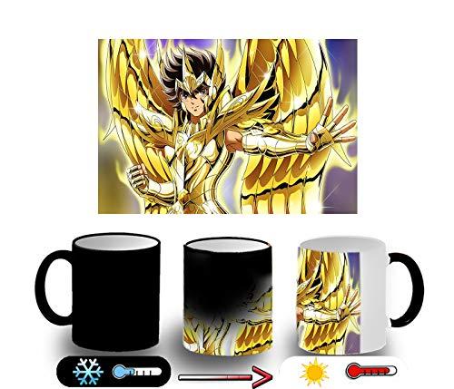 MERCHANDMANIA Taza MÁGICA Seiya Caballero Oro Sagitario Magic mug