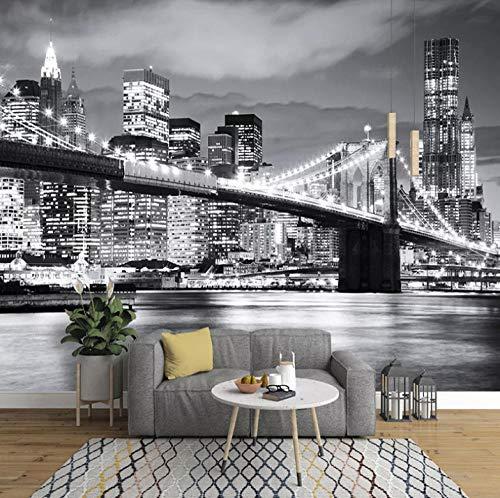 Carta Da Parati Ragazza Ponte Di Manhattan, New York 3D Fotomurali In Tnt Murale Alla Moda Decorazione Da Muro Poster Gigante Design Carta Pareti 200X150Cm