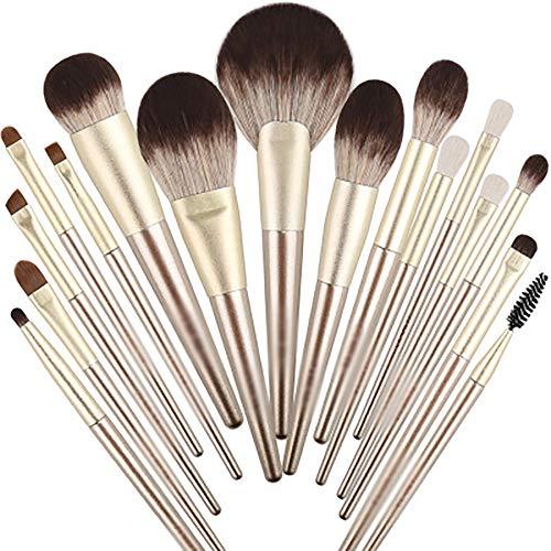 Maquillage Brosses 16PCS De Brosse De Renard De Neige Faux Haut De Gamme Fibre Artificielle Couleur De La Fourrure Ensembles Pinceau De Maquillage Professionnel Set Synthétique Make Up Brush Set,D'or
