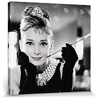 1art1 Audrey Hepburn - Desayuno con Diamantes B/N Cuadro, Lienzo Montado sobre Bastidor (40 x 40cm)