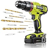 CACOOP 20V 1/2 Inch Cordless Hammer Drill Set with Battery,3-in-1 Battery Powered Drill with Hammer...
