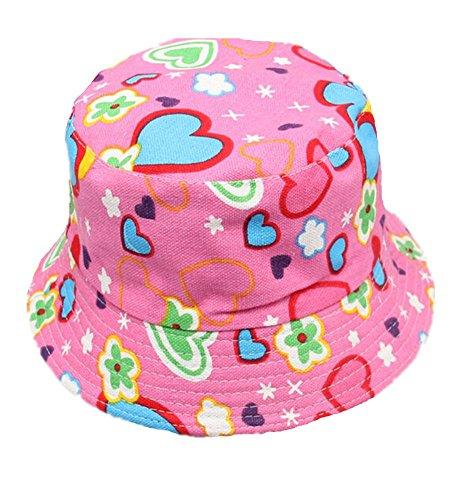 Fletion - Cappello da pescatore baby con protezione UV, Herz-Blumen